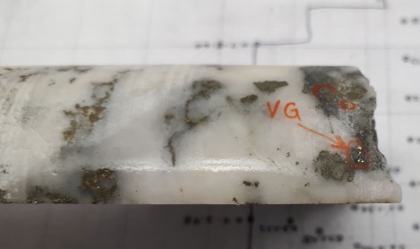 Photo showing example of visible gold (VG) in drill core intercept from 2009-2012 drilling.